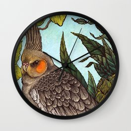 Cockatiel And Pineapple Wall Clock