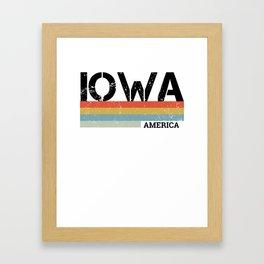 Retro Vintage Stripes Iowa Gift & Souvenir Design Framed Art Print