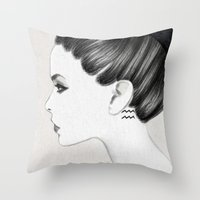 aquarius Throw Pillows featuring Aquarius by Jenny Liz Rome