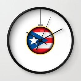 Feliz Navidad Puerto Rico Flag Wall Clock