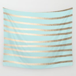 Simply Drawn Stripes White Gold Sands on Succulent Blue Wall Tapestry