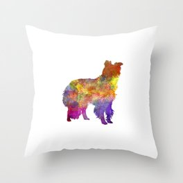 Border Collie in watercolor Throw Pillow