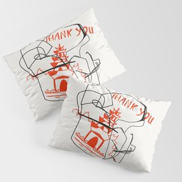 Chinese Food Takeout - Contour Line Drawing Pillow Sham