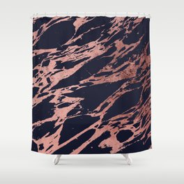 Rose Gold Navy Blue Modern Chic Marble Pattern Shower Curtain
