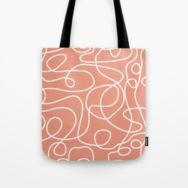 Doodle Line Art | White Lines on Coral Background Tote Bag