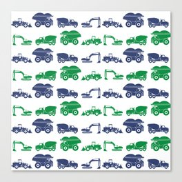 Blue and Green Construction Vehicles Canvas Print