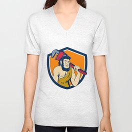 Neanderthal CaveMan Plumber Monkey Wrench Shield Cartoon Unisex V-Neck