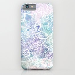 Modern purple lavender turquoise watercolor floral lace hand drawn illustration iPhone Case