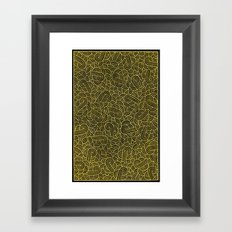 Black and faux gold swirls doodles Framed Art Print
