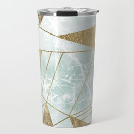 Modern blush green faux gold marble triangles stripes Travel Mug