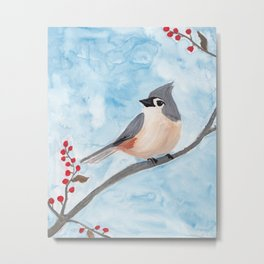 Tufted Titmouse with Holiday Berries Metal Print