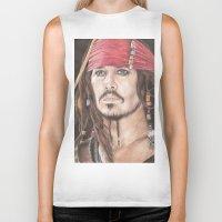 jack sparrow Biker Tanks featuring Captain Jack Sparrow by JadeJonesArt