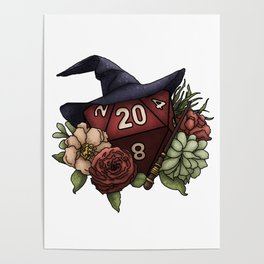 Wizard Class D20 - Tabletop Gaming Dice Poster