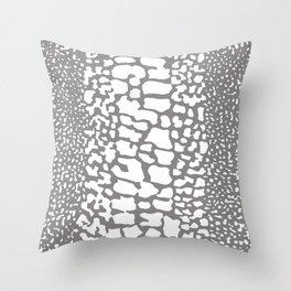 ANIMAL PRINT SNAKE SKIN GRAY AND WHITE PATTERN Throw Pillow