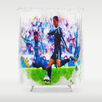 ronaldo Shower Curtains featuring The Buzz from Cristiano Ronaldo by Don Kuing