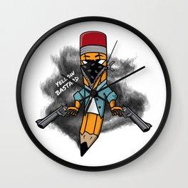 Gangsta pencil with guns illustration. Yellow pen with bandana mask on face, criminal t-shirt print. Wall Clock