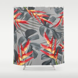 Monstera Heliconia Palm Leaves Shower Curtain