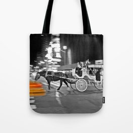 NYC - Yellow Cabs - Horse Carriage Tote Bag