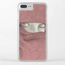Woman with red shawl intense eyes Clear iPhone Case