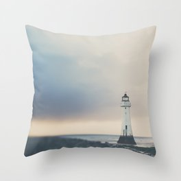the lights will guide you home ... lighthouse photograph Throw Pillow