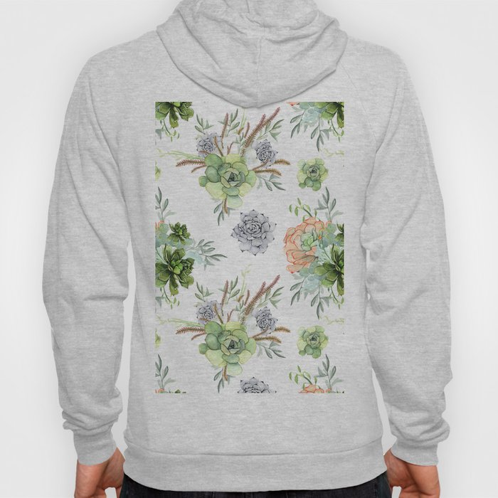 Succulents Mint Green Lavender Lilac Coral Violet Pattern Hoody