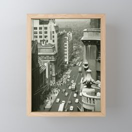 Fifth Avenue, New York City, B&W, high angle view 1950s vintage photo Framed Mini Art Print