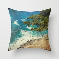 big sur Throw Pillows featuring Big Sur - Sapphire Shore by Jenndalyn