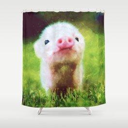 CUTE LITTLE BABY PIG PIGLET Shower Curtain