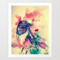 birdy Art Prints featuring Birdy by Hilary Dow