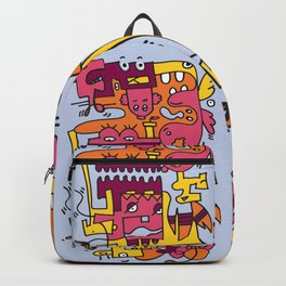 Light Blue Doodle Monster World Backpack