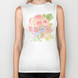 Garden Bouquet Watercolor Wedding Pink Roses Biker Tank