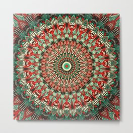 Ethnic mandala Retro colors Metal Print