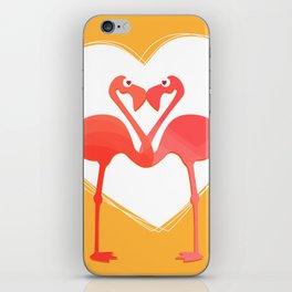 lovebirds - flamingos in love iPhone Skin