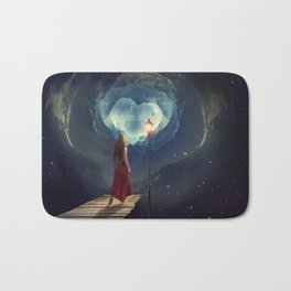 Woman Waking Into Outer Space Bath Mat