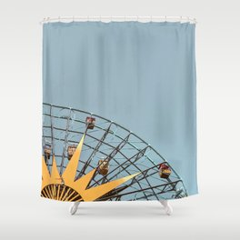 Ferris Wheel and Dusty Blue Sky Shower Curtain