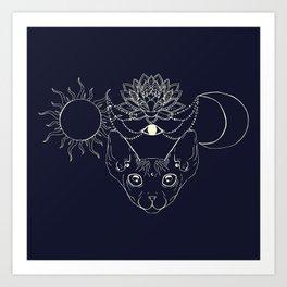 Moonight cat Art Print