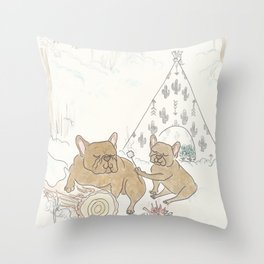 Cute French Bulldogs Camping and Toasting Marshmallows Throw Pillow