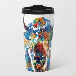 Colorful Buffalo Art - Sacred - By Sharon Cummings Travel Mug
