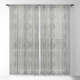 mudcloth diamonds - gray Sheer Curtain