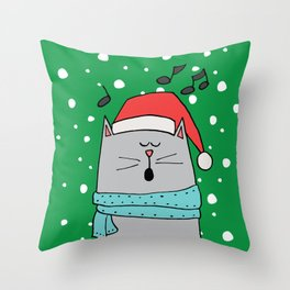 Singing cat Throw Pillow