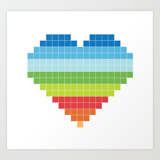 Pixelated Heart. Art Print