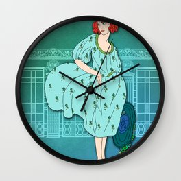 AUDREY: Art Deco Lady in Aqua and Teal Wall Clock
