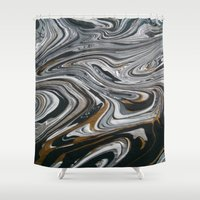 black and gold Shower Curtains featuring Black &  Gold by Chantalle Kryl Art