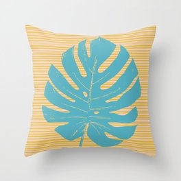 Monstera in Turquoise and Gold Throw Pillow