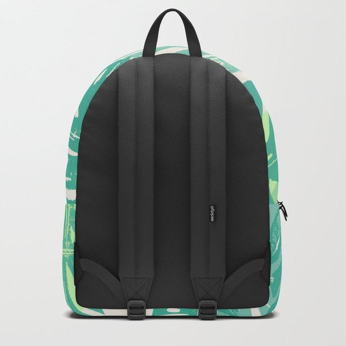Linocut Monstera Green Backpack