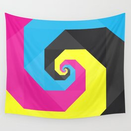 CMYK triangle spiral Wall Tapestry
