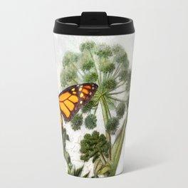 Cottage style Angelica Herb, Dragonfly vintage style botanical painting Travel Mug