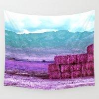 utah Wall Tapestries featuring Stacked Hay Bales in Utah by Lon Casler Bixby - Neoichi
