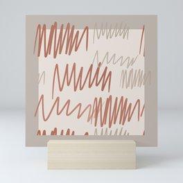 Scribbled Impatience 3 | Neutral Colors Pattern Mini Art Print