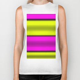 Pink & Yellow  Horizontal Stripes Biker Tank